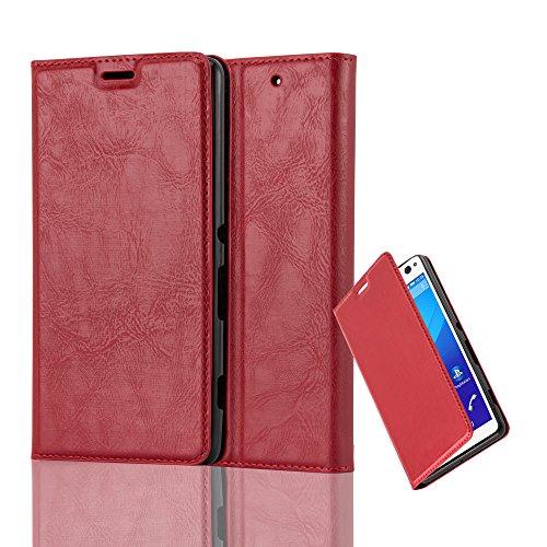 Cadorabo Hülle für Sony Xperia C4 - Hülle in Apfel ROT – Handyhülle mit Magnetverschluss, Standfunktion und Kartenfach - Case Cover Schutzhülle Etui Tasche Book Klapp Style