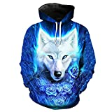 Toensishs Blue Flame Rose Wolf - Kapuzenpulli Coole Kleidung LA2094 M
