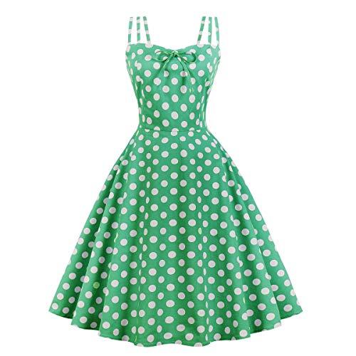 Wellwits Damen Kleid mit Cami Strap, gelbe Punkte Teeparty 1950er Jahre Vintage - Grün - 34/36 - Damen Gelb Kleider
