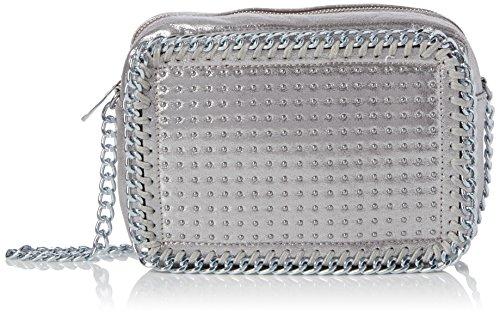 Swanky Swans Damen Zara Stud Chain Camera Umhängetasche, Silber (Silver), 8.3x15.2x22 cm (Handtasche Stud)