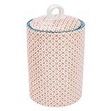 Nicola Spring Patterned Porcelain Kitchen Utensil Holder Pot - Blue/Orange Print Design