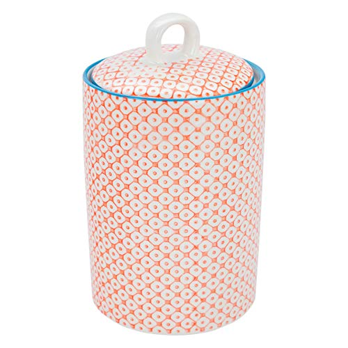 Nicola Spring Gemusterter Porzellan-Küchenzubehör Topf - Blau/Orange