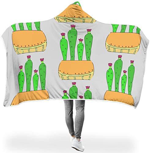 LAOAYI Kaktus PersonalityWearable - Coperta con Cappuccio, ipoallergenica, Ultra Morbida e Calda, per Adulti o Bambini, Poliestere, Bianco, 130x150cm