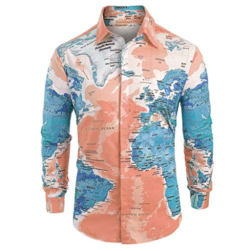 Langarm Herren Map Print Top ()