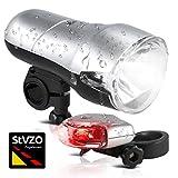 Oramics Bike Light Set StVZO Zugelassen, Fahrradlicht Beleuchtungsset mit Halogen, Montage, LED Rücklicht batteriebetrieben, spritzwassergeschützt & abnehmbar, Beleuchtung Fahrrad und Kinderwagen