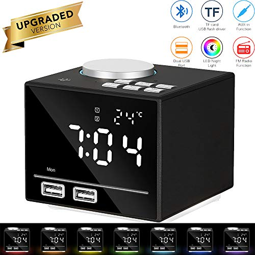 OurLeeme Reloj Despertador Digital, Relojes de Alarma de Radio de cabecera Bluetooth Inteligentes con luz Nocturna, bocina, repetición, AUX-IN, Pantalla de Temperatura, Carga USB Dual