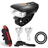 Wiederaufladbare LED Fahrradlampe,Jr.Hagrid 400 Lumen Sensoren Superhell Wasserdicht Fahrradlampe intelligenter Vorderlicht und rotes Rücklicht ,smarte Fahrradlampensets mit 2 USB Ladekabel