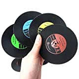 KaariFirefly Retro CD-Design Antislip Silicone Drink Coaster Pad Cup Coffee Mat Placemat