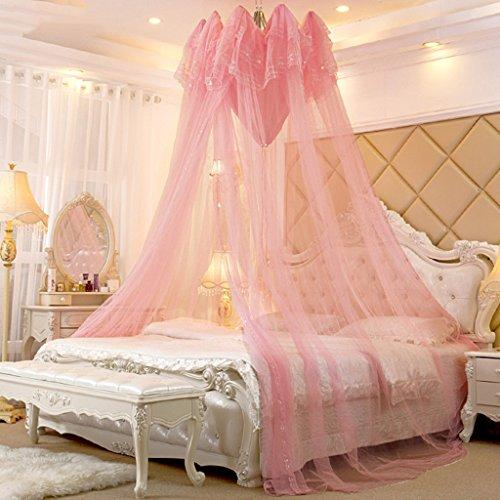 CHANG XU DONG SHOP Lace Dome Moskitonetz leicht offen und geschlossen Bett Baldachin großen Raum Ultra feinen Netting Schutz Sommer Bettwäsche voller Größe (Farbe : Rosa, größe : 1.8m (6ft)) (Bettwäsche Voll Baldachin Bett)