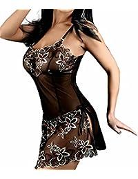 Valin Noir femme ensembles de lingerie sexy robe erotique Nuisettes,String