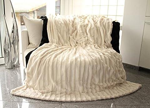 Brandsseller-Plaid imitation fourrure Double-face 220 x 240 cm blanc crème