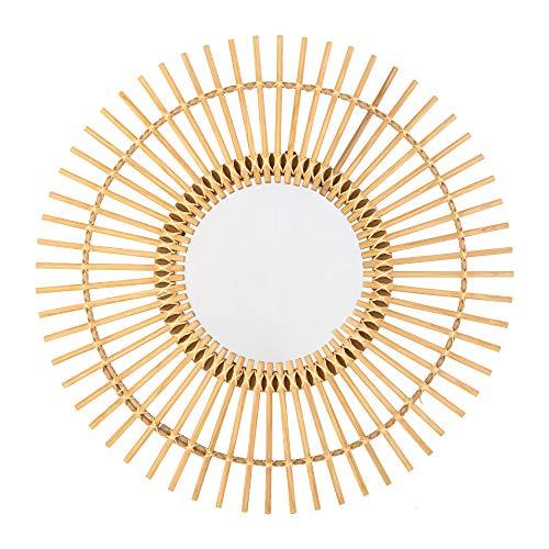 KASA Espejo de Pared, 60cm, Diseño de Sol, Materiales Naturales