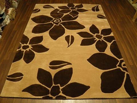 Indian Hand Tufted Textured 100% Wool Rug 160cm x 230cm Approx 8x5 Midnight Beige