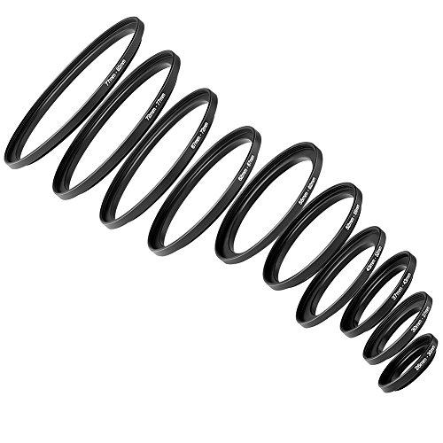 Neewer 10 pezzi Anello adattatore Step up metallo nero anodizzato Set inclusi 26 30 30 37 37 43 43 52 52 55 55 62 62 67 67 72 72 77 77 82