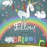 Einhorn Regenbogen Wandbild Folge deinen Träumen Foto-Tapete Mädchen Wohnkultur Erhältlich in 8 Größen Mittel Digital