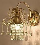 HOHE SHOP/ Europäischen und amerikanischen Stil Luxus Kristall Schlafzimmer Wohnzimmer Wandleuchte Iron Light Körper Kristall Lampenschirm Wand Lampe