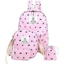 Mochila Escolar Niña Mensajero Monedero Mujer Canvas de Lona Casual Mochilas Para Portatiles Pink