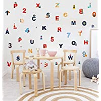TOARTi Nautical Alphabet and Number Wall Decal, Educational ABC Wall Sticker for Kids Bedroom Decoration, Ocean Theme Nursery Classroom Wall Art