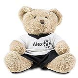 Geschenkidee.de Teddybär mit Namen und Fußball-Trikot | Stofftier mit personalisiertem T-Shirt und Wunsch-Namen | Öko-Tex geprüft