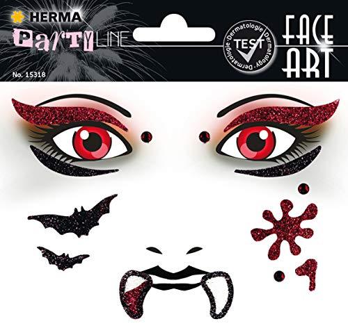 Kostüm Arten Verschiedene Vampir Von - HERMA 15318 Face Art Vampir Gesicht Aufkleber Glitzer Sticker für Fasching, Karneval, Halloween, dermatologisch getestet