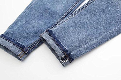 Mena UK Damen stilvoll hohe Taille Blume gestickt Knöchel Damen Skinny Bettler Jeans Bleistifthose Blau