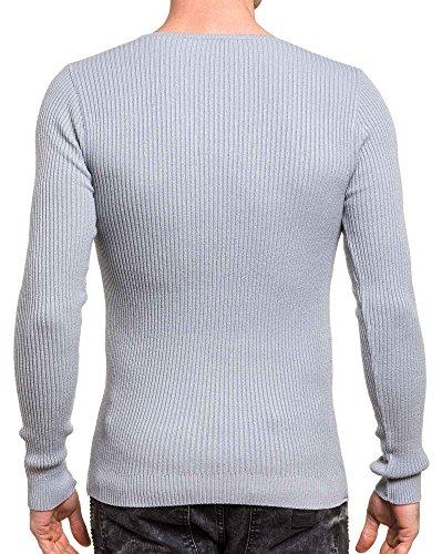 BLZ jeans - Pull homme fin gris moulant col v Gris