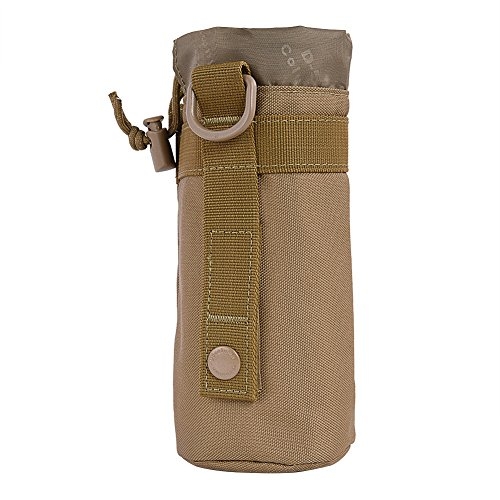 Water Bottle Holder Pouch Bag Nylon Molle Kettle Bag Carrier for Camping Hiking Climbing ( Color : Khaki )
