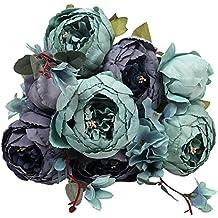 Houda - Ramo de flores de peonia artificiales vintage para decoración de hogar y bodas