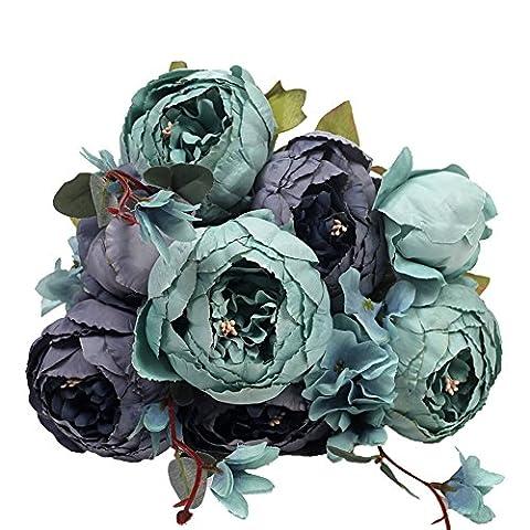 Houda Vintage Artificial Peony Silk Flowers Bouquets Home Hotel Wedding Decoration (Blue)