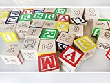CraftDev 27 Pcs ABC / 123 Wooden Blocks Letters Numbers for kids with Box Storage Case, Size 3 cm each Block