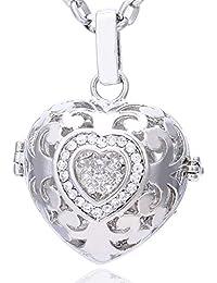 Morella Damen Schutzengel Halskette Edelstahl 70 cm mit Anhänger Herz Liebe und Klangkugel Zirkonia in Schmuckbeutel