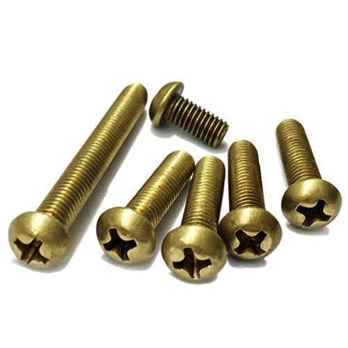 M2 Phillips Pan Head machine à vis, Laiton, filetage métrique, Full, la main droite, Lot de 100 pièces, bronze