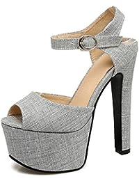 SHOWHOW Damen Glitzer Spitz Stiletto Cut Out High Heels Riemchensandalen Gold 33 EU NhTW3D