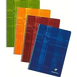 Clairefontaine 68145C - Cuaderno de anillas (50 hojas, a rayas, con márgenes), colores surtidos, 1 unidad