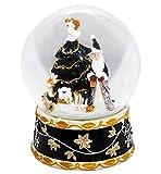 Schneekugel Weihnachtsmann mit Spieluhr, schwarz, groß - 20020