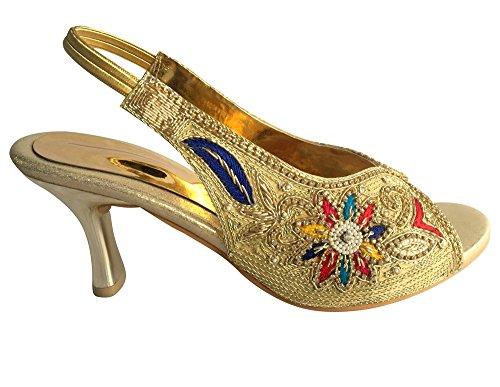 Étape N Style Femmes strass mariée mariage soirée talon haut Sandale Khussa multicouleur - Gold Multi