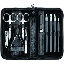 Clauss - Set de manicura, cuero, color negro (10 piezas)