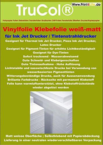 Preisvergleich Produktbild 5 Blatt A4 Klebefolie Vinylfolie weiß für Tintenstrahldrucker: Selbstklebende Inkjet Folien in weiß opaker Ausführung mit farblosem,  nicht vergilbendem,  hitzestabilen Kleber. Perfekt geeignet für die OUTDOOR Anwendung,  da die Folie wetterfest ist.