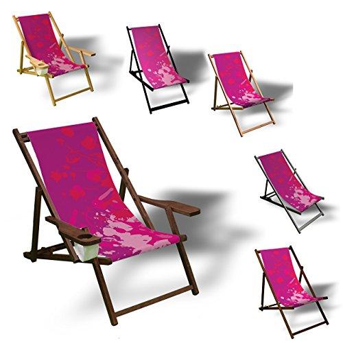 Printalio - Pink Splash - Liegestuhl Bedruckt Balkon Garten Sonnenliege Relax Holz Terrasse | Kinderliegestuhl, Natur