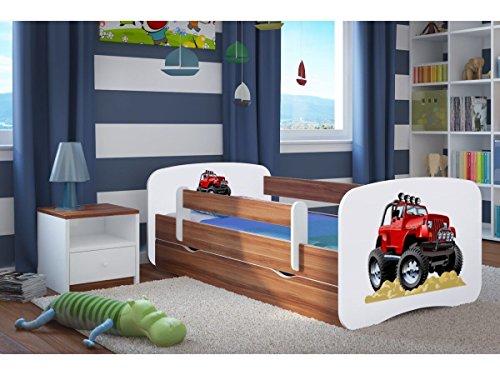 CARELLIA Roadster Kinderbett, 70 cm x 140 cm, mit Sicherheitsgurt, inkl. Matratze Nussbaum Körbe Nussbaum