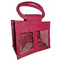The Natural Look 2 Glas Jute-Tasche mit Sichtfenster, Trennwand & Baumwolle kabelgebunden Griffe -rosa preisvergleich bei billige-tabletten.eu