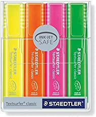 Staedtler Textsurfer Classic Highlighter Pen - Rainbow Colors (Pack of 4)