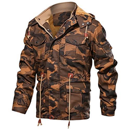 Herren Camouflage Lederjacke CargojackeVintage Dicken Warm Kunstlederjacke Männer Beiläufige Winddicht Bikerjacke Motorrad Jacke Winter Coat Outwear