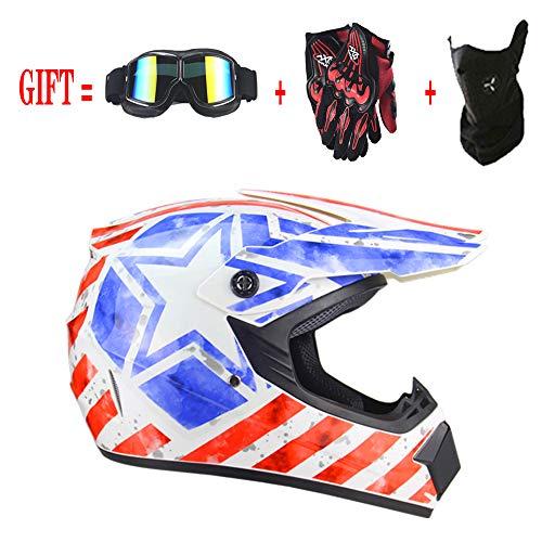 QSWSW Helm Motorrad Kinder, Helm Motorrad Inklusive Sonnenblende/rote Reiterhandschuhe/Windmaske, Universelle Vierjahreszeiten Version (L(56~57), Weiß)