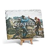 PhotoFancy - Schieferplatte mit Foto Bedrucken Lassen - Schiefertafel personalisiert - Schieferplatte mit deinem Foto und Staffelei zum Aufstellen (20 x 15 cm)