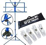 KEEPDRUM MUS2 BL Notenständer Blau + Tasche + 4 Stück Clip Notenklammer