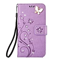 Galaxy J3 2017/J3 Prime Case [Free Tempered Glass Screen Protector],Mo-Beauty® Galaxy Floral [Embossed Butterfly Flower Pattern] Bling Diamonds Gems PU Leather Flip Wallet [with Card Slot and Strap] Case Cover For Samsung Galaxy J3 (2017 Version) (Purple