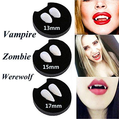 Hexie Halloween Vampire Fangs Zombie Zähne Zahnersatz Party Cosplay Requisiten Creepy Devil Horror Haunted Kostüm Dekorationen Supplies mit 1PCS Extra Tattoo (Mädchen Vogelscheuche Kleinkind Kostüme)