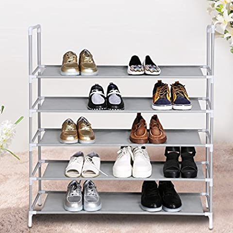 Homdox 5 Tier Shoe Rack Portable Shelf Storage Shoes Organizer Standing Stackable Storing Shoes Cabinet for 20 Pairs-35.3 x 10.9 x 38.4 (Silver+Gray)