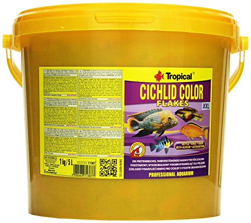 Tropical Cichlid Color Flakes - farbverstärkendes Flockenfutter mit Beta-Glucan, 1er Pack (1 x 5 l)